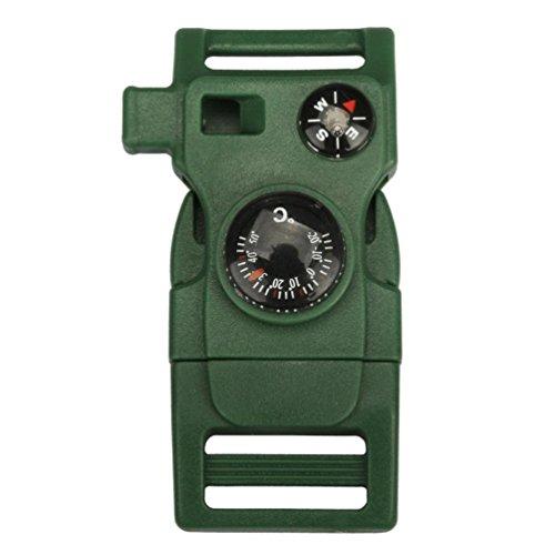 Emerald Whistle Schnalle, 12Shage Side Schnalle mit Kompass Feuerstein Feuer Starter Scraper (Armee Grün) (Armee-feuer-starter)