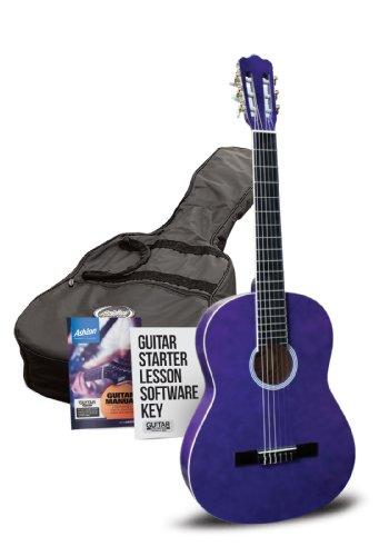 Ashton Klassische Gitarre mit Accessoires klassisch, halbe Größe violett