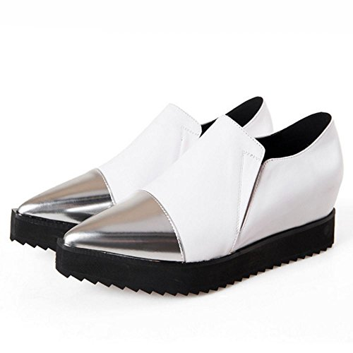 TAOFFEN Damen Pumps Spitze Toe Plateau Gemütlich Casual Schuhen Mode 2016 Weiß