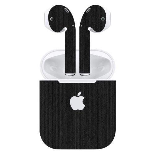 Gadgets WRAP Apple Airpods Black Titanium Skin Apple Logo Skin