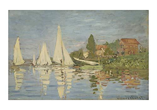 Spiffing Prints Claude Monet - Regattas at Argenteuil - Extra Large - Archival Matte - Framed - Claude Monet-regatta Bei Argenteuil