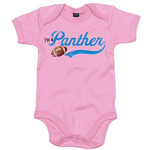 I'm a Panther #1 Babystrampler Super Bowl Play Offs American Sports USA Vintage Bodysuit Babybody Oeko-TEX, Farbe:Rosa (Bubble Gum Pink BZ10);Größe:12-18 Monate -