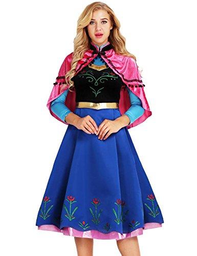 TiaoBug Femme Carnaval Déguisement de Ana Princesse Robe de Soirée Robe de Partie Robe Danse Bal Robe Reine Princesse Cosplay Costume de Noël Halloween Fête S-XXL Coloré M