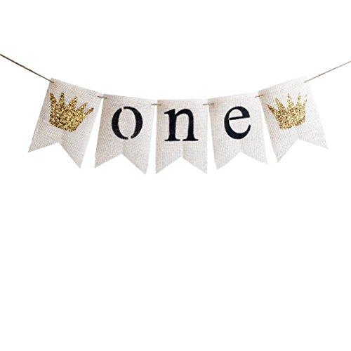 OULII ONE Brief Kronen Banner Baby Geburtstag Sackleinen Bunting Flaggen Garland hängende Ornamente für Babys erste Geburtstag Party Supplies (weiß) (Krone Banner)