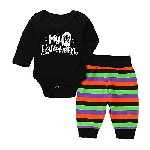 Zarupeng Baby Body Set Jungen Mädchen Overall Langarm Brief Strampler Wickelbody + Gestreiften Hosen Halloween Outfits Set