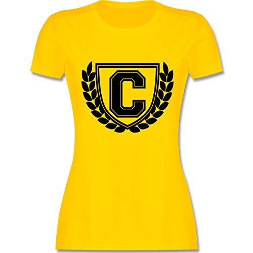 Anfangsbuchstaben - C Collegestyle - tailliertes Premium T-Shirt mit Rundhalsausschnitt für Damen Gelb