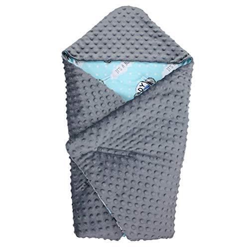TupTam Baby Winter Einschlagdecke für Babyschale Wattiert, Farbe: Teddybär Boy/Graphit, Größe: ca. 75 x 75 cm