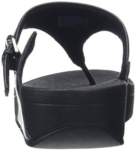 Fitflop Skinny Toe-Thong Sandals-Leather, Sandali Punta Aperta Donna Black (Black)