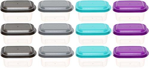 idea-station Vorratsdosen-Set mit Deckel, 250 ml, 12 Stück, farbig, bunt, eckig, stapelbar, auch als Gefrierdosen, Tiefkühldosen, Frischhaltedosen, Aufbewahrungsboxen einsetzbar, spülmaschinenfest, mikrowellenfest, Farbe:250 ml / 12 St. / eckig / bunt