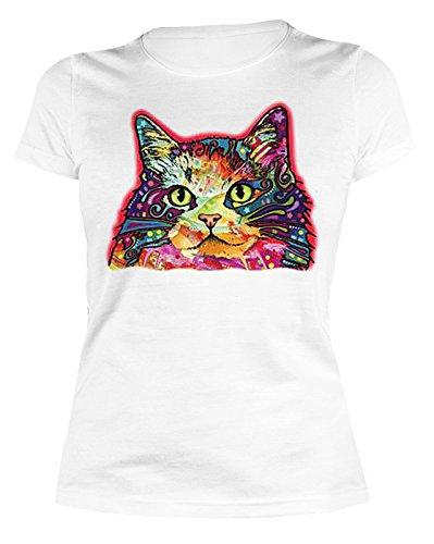 Katzen-Neon/Damen/Girlie-Shirt mit Neon - Motiv: Ragamuffin - schönes Geschenk Weiß