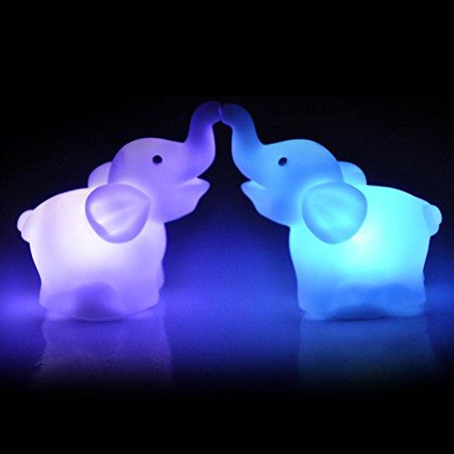 2pcs Luz colorida de la noche,STRIR Color de forma de elefante que cambia la decoración del banquete de boda de la lámpara de la luz del LED