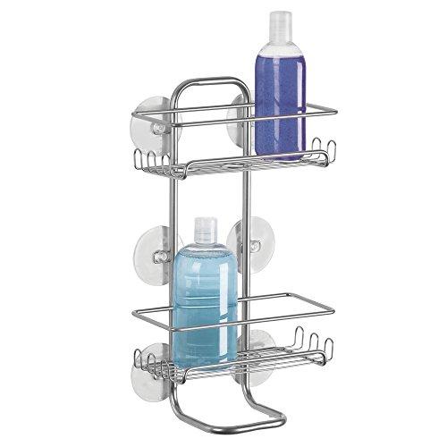 mDesign Duschregal - ohne Bohren zu montieren - Badablage (groß) aus Edelstahl für Shampoo, Schwämme, Rasierer und sonstiges Duschzubehör