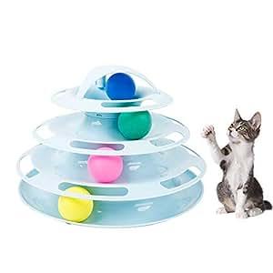 Petilleur Katzenspielzeug Intelligenzspielzeug Spielzeug für Katzen Mit Ball, 4 Etagen (Blau)