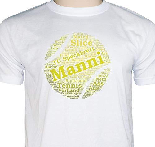 T-Shirt Tennis Geschenkidee für Tennisspieler Fun Tennis Shirt Tennis Fanartikel personalisiert mit Namen und Verein Damen Herren -