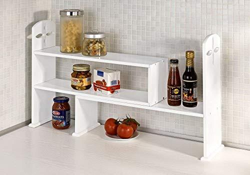 Spetebo Holz Küchenregal in weiß - ausziehbar - Küchengestell Küchenablage Gewürzregal Küchen Eckregal