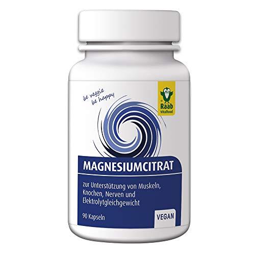 Raab Vitalfood Magnesium-Citrat Kapseln für Sportler, 90 Stück, 250 mg pro 6 Kapseln, vegan, ohne Zusatzstoffe, hergestellt in Deutschland, 54 g Dose