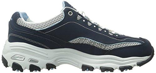 Scarpe sportive Skechers D'Lites per donna in tessuto blu Navy/White