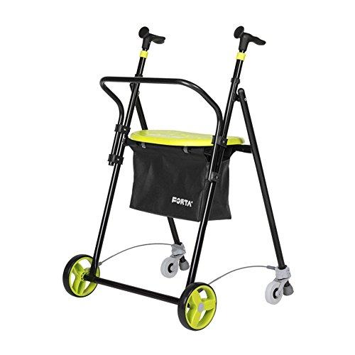 Andador para ancianos | De hierro plegable | Con frenos traseros| Con cesta asiento y respaldo | Color pistacho