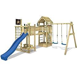 WICKEY Casa sobre pilotes Hillbilly's Farm Torre para con columpio, tobogán, puente y un montón de accesorios para juegos, tobogán azul + asiento azul oscilante