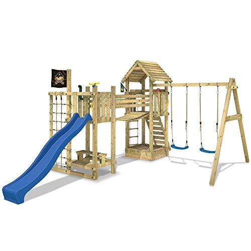 WICKEY Stelzenhaus Hillbilly\'s Farm Spielburg Spielturm mit Schaukel, Rutsche, Brücke und viel Spiel-Zubehör, blaue Rutsche + blaue Schaukelsitze