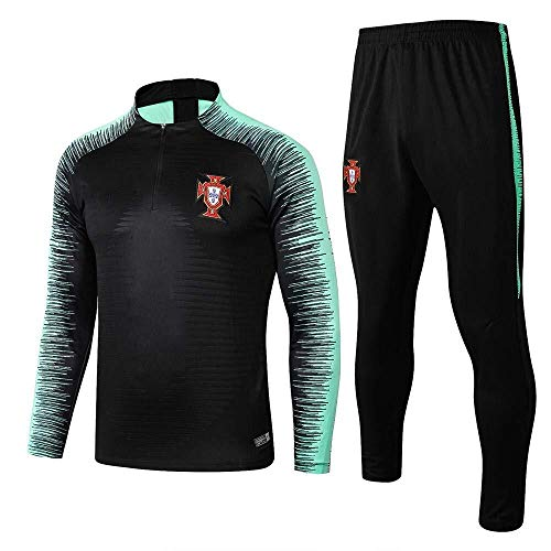Portugal Team Langarm Trainingsanzüge Heimteam Uniformen Fußball Uniformen Half Zipper Sweater Warm-Up Suit (Farbe : Photo Color, Size : XL) -