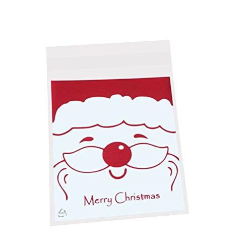 LUOEM 10 stücke Weihnachten Süßigkeiten Keks Taschen Selbstklebende Cookie Zellophan Taschen für Lebensmittel-Paket (Weihnachtsmann Kopf)