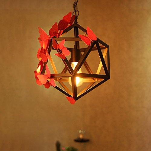 OLQMY-Loft di rombo sfaccettato Lampadario villaggio creativo lampada da tavolo di ferro industriale Café,450MM - Vintage Sfaccettato Nero Vetro