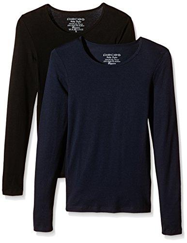 Pieces Pcholly Ls T-shirt 2-pack - Débardeur - Femme Bleu marine Blazer