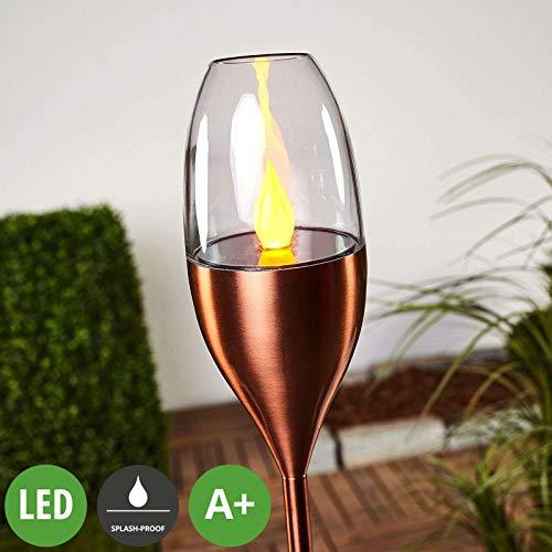 Lampenwelt LED Solarleuchte \'Jari\' (spritzwassergeschützt) (Modern) in Kupfer aus Edelstahl (A+, inkl. Leuchtmittel) - Dekorationsleuchte, Solarlampe
