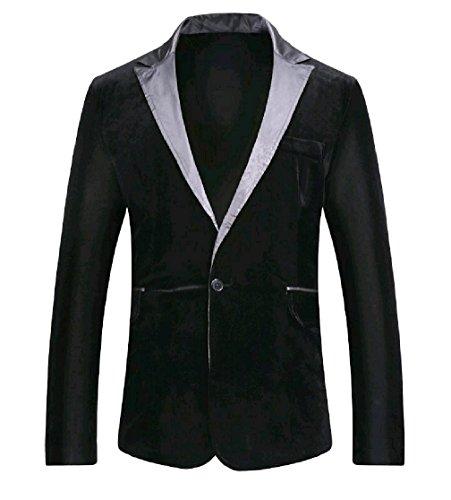 DressUMen Chaqueta de terciopelo de empalme parche muesca solapa capa de la chaqueta del juego de ribete...