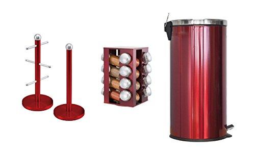 Passende Küche Set von drei Artikel: drehbaren Gewürzregal mit 16Gläsern, 30Liter Pedal Bin- und Becherbaum und Küchenrollenhalter Ständer Set in Rot