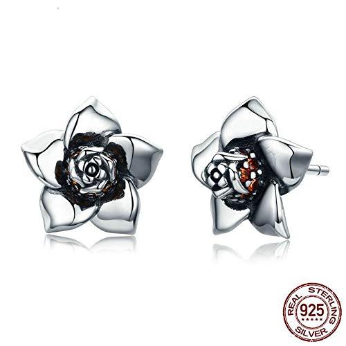Gardenia-geschenk-set (ZHWM Ohrringe Ohrstecker Ohrhänger 925 Sterling Silber Gardenia Blumen Ohrringe Für Frauen Sterling-Silber-Schmuck Liebhaber Geschenk)