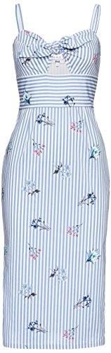FIND Damen Gestreiftes Bleistiftkleid Blau (Blue Stripe Floral)