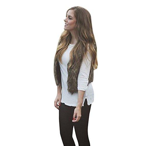 iHENGH Vorweihnachtliche Karnevalsaktion Damen Herbst Winter Bequem Lässig Mode Frauen Warm Faux Fur Sleeveless Weste Mantel V Kragen Weste Jacke Outwear