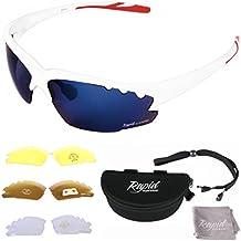 GAFAS DE SOL DE CICLISMO BLANCAS Breeze Cycle - Cristales de espejo azul ventilados, POLARIZADOS, transparentes y de baja luz. Ideales para correr, practicar atletismo, etc. Protección UV400