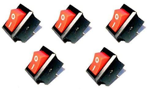Preisvergleich Produktbild 5 Stück Wippenschalter 1-polig EIN/AUS ECKIG Rot-Schwarz,Wippschalter 6/12 Volt