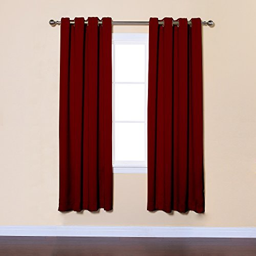 Best Home Fashion Thermal Insulated Blackout Curtains - Antique Bronze Grommet Top - Burgundy - 52W x 72L - (Set of 2 Panels) by Best Home Fashion