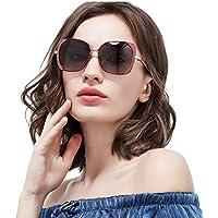 YJF Gafas de Sol polarizadas para Mujer Protección de Gran tamaño con Marco de Metal UV 400