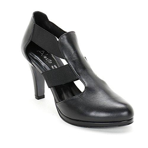 ALESYA by Scarpe&Scarpe - Stiefeletten mit Absatz und Gummizug, Leder, mit Absätzen 9 cm Schwarz