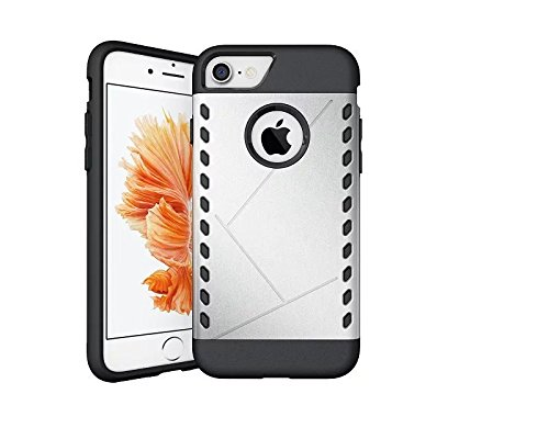 iPhone 7 Coque,Lantier Art Style Design [Hard PC+silicone souple][Anti-Skid][antichoc][Thin Fit] Armure Heavy Duty double couche Housse de protection pour Apple iPhone 7 (4.7 inch) gris Silver