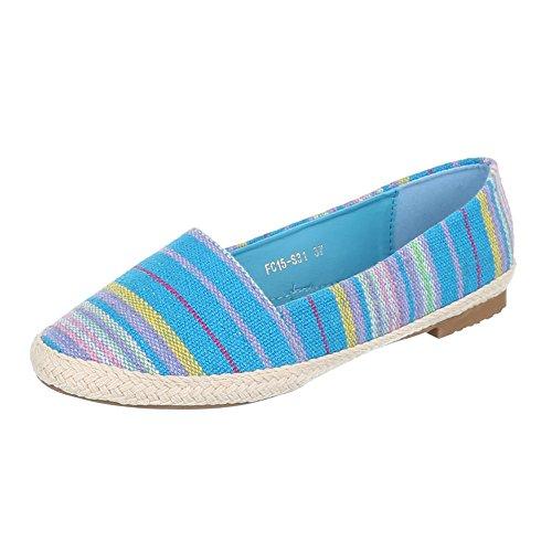 Ital-Design, Mocassini donna Multicolore (Blu/Multicolore)