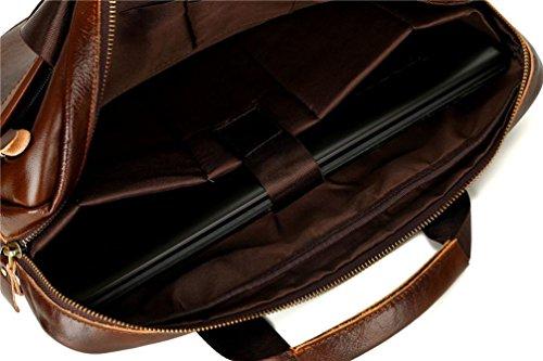 Borsa a Tracolla, BYSTE Uomo Moda affari ventiquattrore Borse a spalla Grande capacità vera pelle Borsello Sacchetto del Messaggero Sacchetto di Messenger bag Crossbody Bag Nero