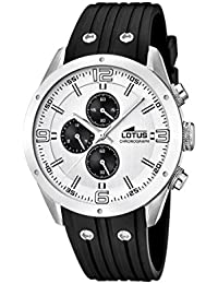 Lotus 15969/1 - Reloj de pulsera con cronógrafo para hombre (mecanismo de cuarzo, esfera blanca y correa de caucho negro)