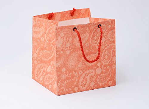 BDPP Premium Gift Paper Carry Bags-Pearl Orange Ambi Print(Pack Of 10)-SIZE 5.10 X 5.10 Inches
