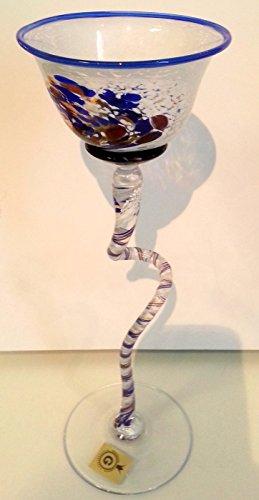 Bougeoir au longue zier Pied colorée glaskerzenl euchter pour boule Bougies Bleu, Rouge, Blanc/torsadée soufflé, verre en cristal Pied, Bougeoir Hauteur env. 26-29 cm Le colonel dorfer Niche en verre