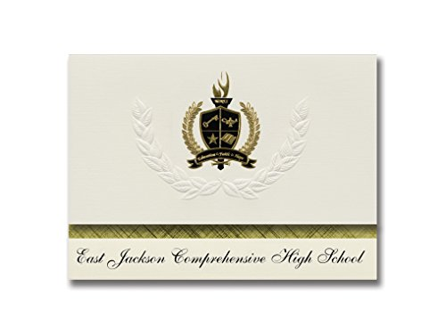 Signature-Announcements East Jackson Comprehensive High School (Commerce, GA) Abschlussankündigungen, Präsidential-Pack, 25 Stück, mit goldfarbener und schwarzer Metallic-Folienversiegelung