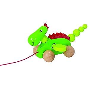 Goki 54933 - Juguetes de Arrastre (Verde, Rojo, Madera, Madera, 12 Mes(es), Dragon, 4 Rueda(s), Madera)