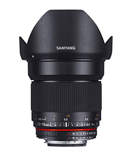 Samyang F1120703101 - Objetivo fotográfico DSLR para Nikon F AE (distancia focal fija 16mm, apertura f/2-22 ED AS UMC CS, diámetro filtro: 77mm), negro