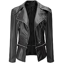 Reaso Vintage Jacket Cuir PU Zipper Femmes Manteau Casual Veste Biker Moto Blouson Pardessus Mode Outwear Pullover Hiver Cardigan