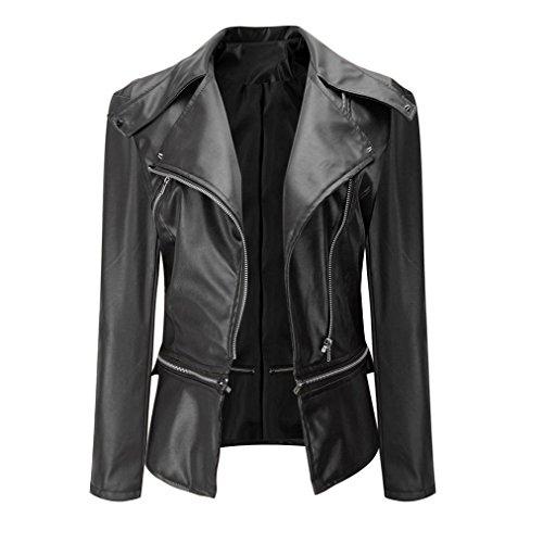 Reaso Vintage Jacket Cuir PU Zipper Femmes Manteau Casual Veste Biker Moto Blouson Pardessus Mode Outwear Pullover Hiver Cardigan (L, Noir)